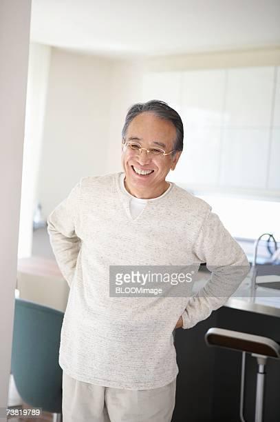Japanese senior man, smiling