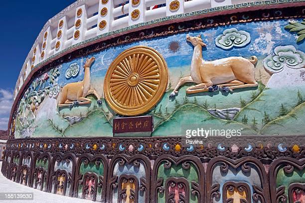 japanese shanti stupa in leh india - pavliha stock photos and pictures