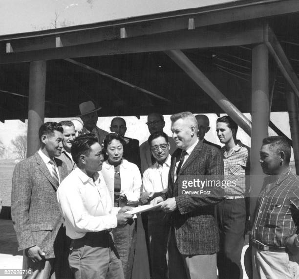 Japanese Shelter for Brighton Park Don Tanabe chairman of the Brighton JapaneseAmerican Assn shelter house committee and Jim Tochihara Assn president...