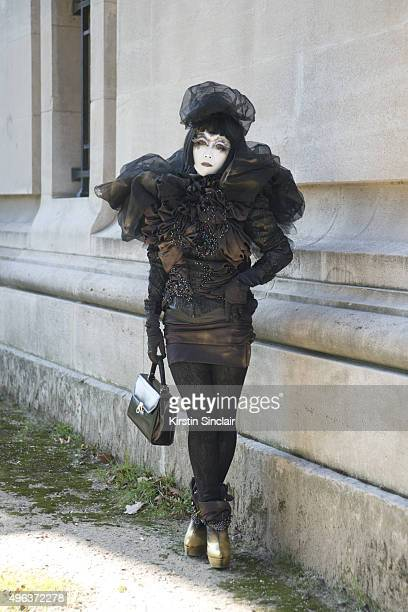 Japanese Shiro Nuri Artist Minori on day 5 during Paris Fashion Week Spring/Summer 2016/17 on October 3 2015 in Paris France