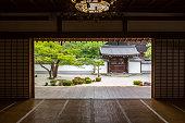Japanese shoji washi paper door at Chionji temple kyoto japan