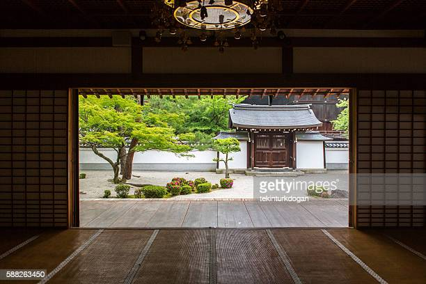 japanese shoji washi paper door at chionji temple kyoto japan - kyoto prefecture stock pictures, royalty-free photos & images