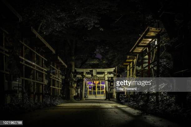japanese shrine by night, kanazawa - shinto shrine stock pictures, royalty-free photos & images