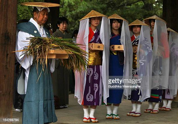 Japanese Shrine Priest and Ichime shrine maidens wear traditional ritual costumes as they present an offering of the first harvest of sacred rice...