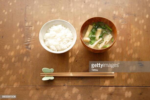 Japanese simple dishes, rice and miso soup