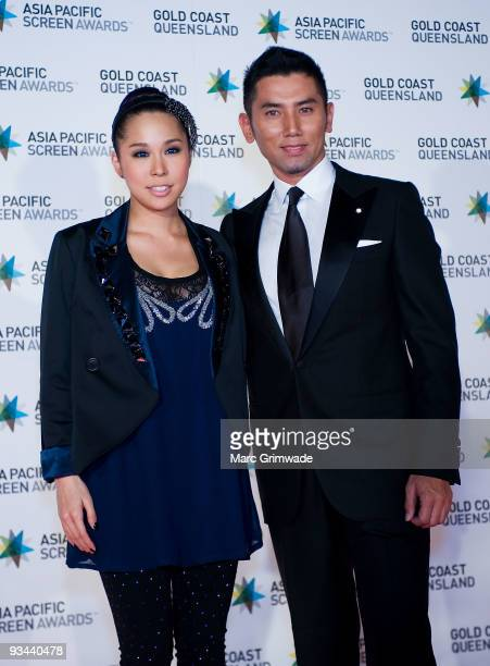 Japanese singer Ai and Japanese actor Masahiro Motoki arrive at the Asia Pacific Film Awards 2009 at the Gold Coast Convention and Exhibition Centre...