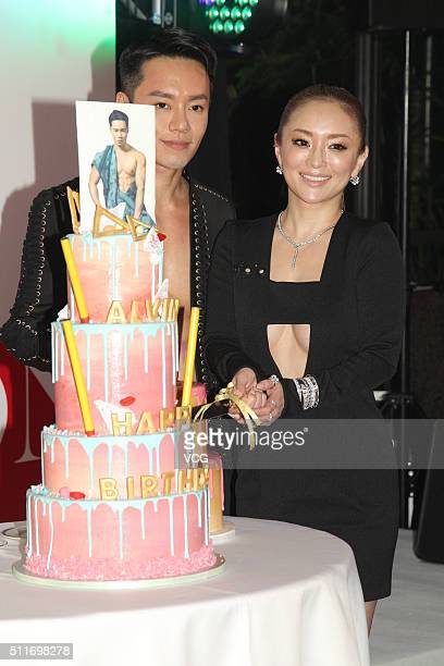 Japanese singer Ayumi Hamasaki and stylist Alvin Goh attend Alvin Goh FUN SEXY birthday party on February 22 2016 in Hong Kong China