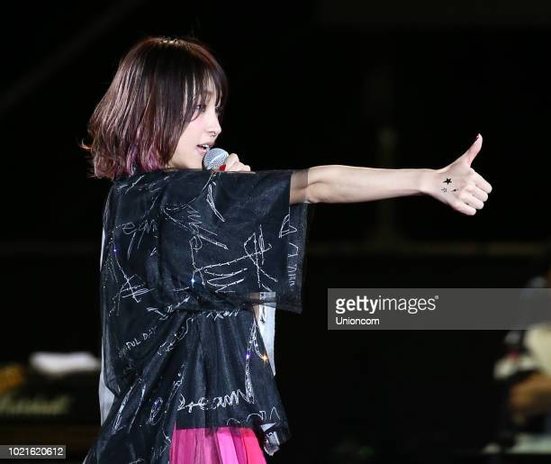 Japanese singer LiSA Risa Oribe performs onstage during her eN concert on August 18 2018 in Taipei Taiwan of China
