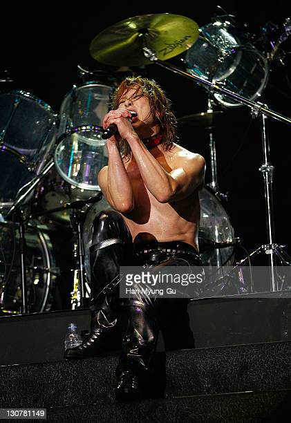 Japanese Singer Yoshiki of the band X Japan performs live during a concert at Olympic Gymnasium on October 28 2011 in Seoul South Korea