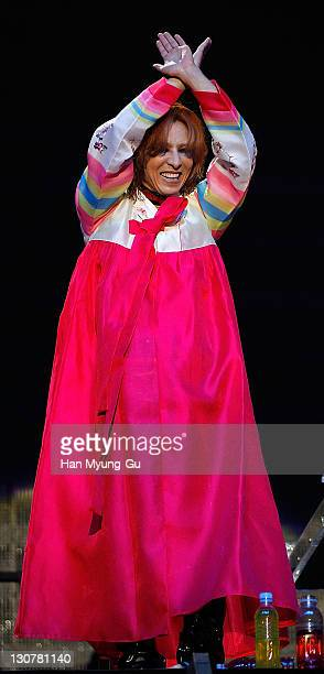 Japanese Singer Yoshiki of the band X Japan performs live during as he wearing the South Korean Traditional Costume 'HanBok' fashion a concert at...