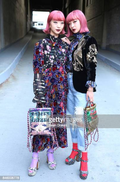 Japanese singers Aya Suzuki and Ami Suzuki attend the Spring/Summer 2018 womenswear collection shows during New York Fashion Week at Skylight...