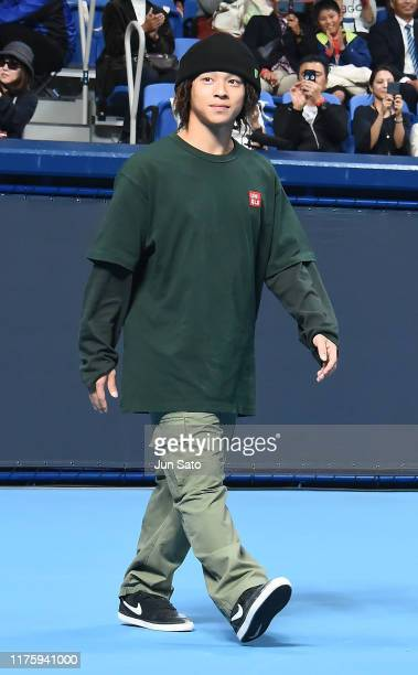 Japanese skateboarder Ayumu Hirano attends the opening ceremony for Uniqlo LifeWear Day Tokyo charity match at the Ariake Coliseum on October 14,...