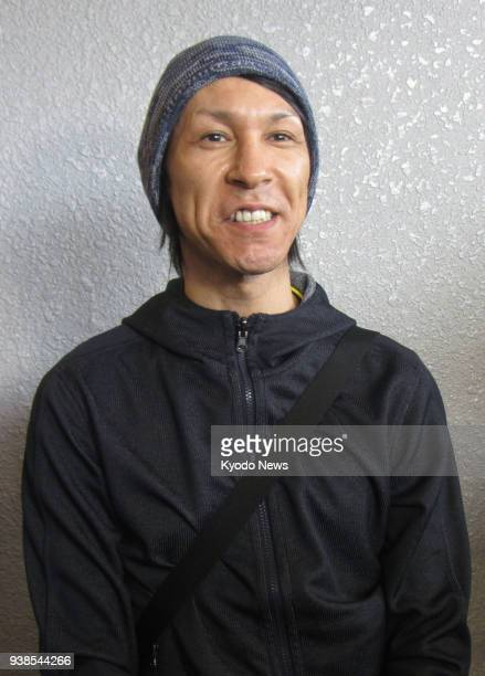 Japanese ski jumper Noriaki Kasai speaks to the press at Narita airport after returning from a World Cup event on March 27 2018 ==Kyodo