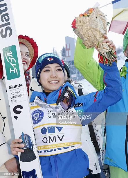Japanese ski jumper Sara Takanashi celebrates her 50th career victory on the women's World Cup circuit in Rasnov Romania on Jan 29 2017