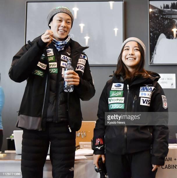 Japanese ski jumpers Ryoyu Kobayashi and Sara Takanashi are pictured in Oslo on March 8 2019 ==Kyodo