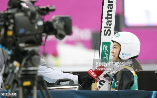Japanese ski jumping superstar Sara Takanashi is interviewed after capturing the 53rd World Cup title of her career to tie Austrian Gregor...