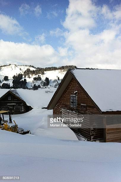 CONTENT] Japanese ski resort cabins in Cupid Valley Niigata midwinter with lots of snow