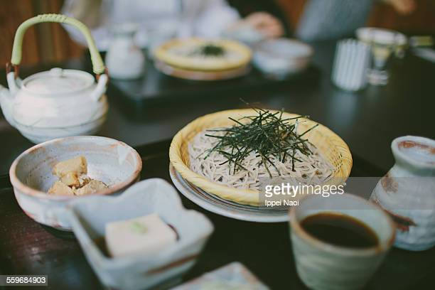 japanese soba noodle lunch - soba stock pictures, royalty-free photos & images