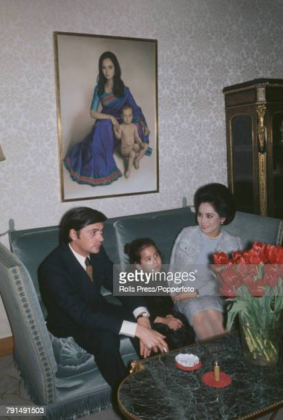 Japanese socialite and former wife of President Sukarno of Indonesia Dewi Sukarno pictured with her daughter Kartika and fiance Spanish born Swiss...