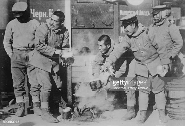 Japanese soldiers at a military canteen in Siberia, during the Russo-japanese war, 1904.