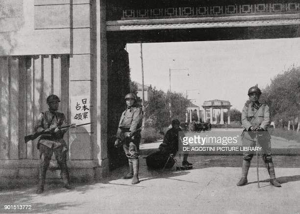 Japanese soldiers guard a railway bridge after the Japanese occupation of the Manchuria region in the vicinity of Mukden China from L'Illustrazione...