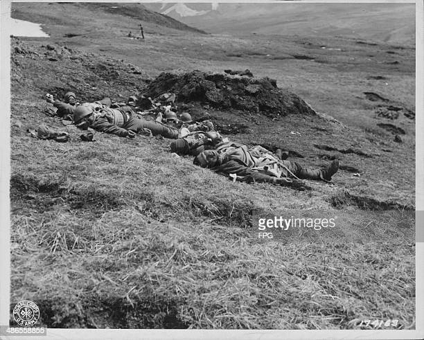 Japanese soldiers killed during the battle for Holtz Bay in World War Two Aleutian Islands May 19th 1943