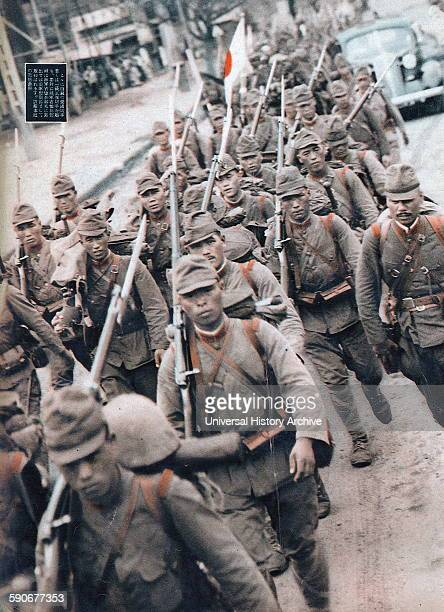 Japanese soldiers march into Manchuria 1934
