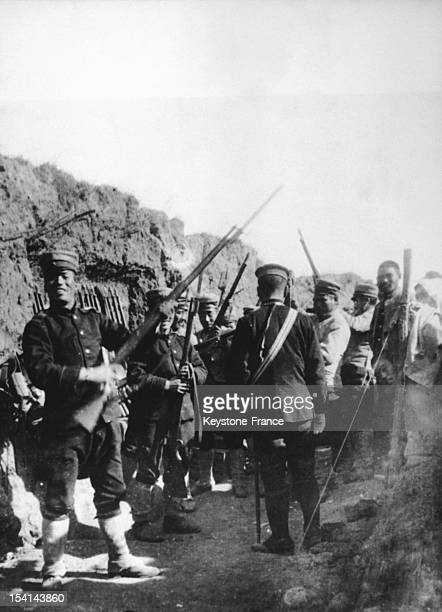 Japanese soldiers occupying Port Arthur during the war between Russia and Japan, circa 1905, in Port-Athur aka Lushunkou, China.