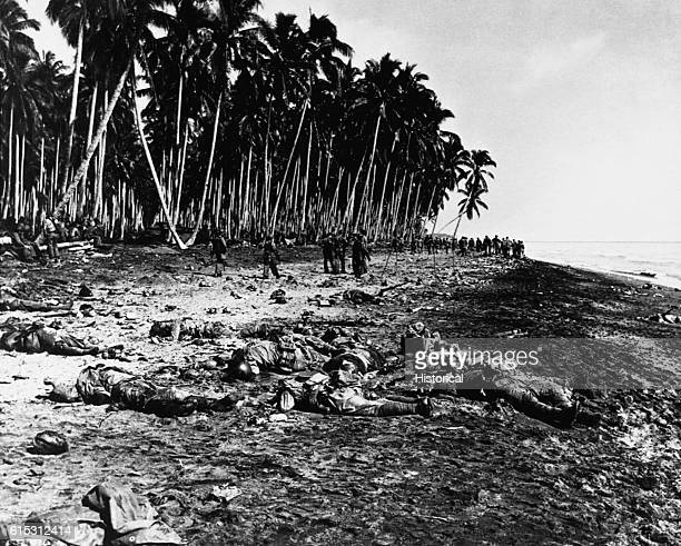 Japanese soldiers who succeeded in crossing the mouth of the Tenaru and then were killed in the Battle at Tenaru, August 21 shown the day after the...