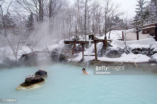 japanese spa - hot spring stock pictures, royalty-free photos & images