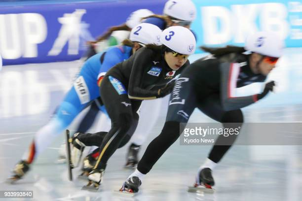 Japanese speed skater Ayano Sato competes on her way to winning a World Cup mass start race in Minsk Belarus on March 18 2018 ==Kyodo