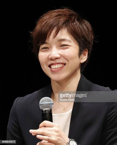 Japanese Speed skater Nao Kodaira a gold medalist of the Pyeongchang Olympics smiles at a talk show in Tokyo on April 19 2018 ==Kyodo
