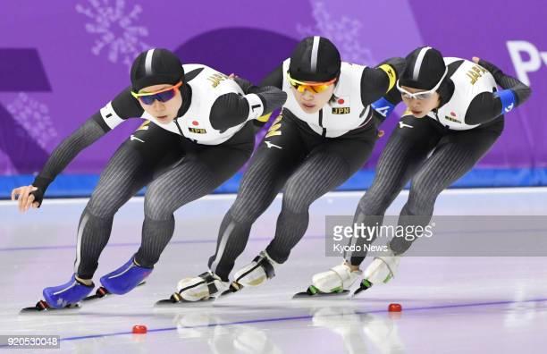 Japanese speed skaters Miho Takagi Ayano Sato and Nana Takagi skate in the women's team pursuit quarterfinals at the Pyeongchang Winter Olympics in...
