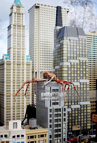 A Japanese Spider Crab sits atop a LEGO skyscraper in Miniland New York City on Tuesday February 15 2012 at Legoland California in Carlsbad...