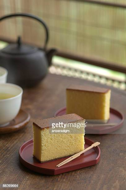 Japanese sponge cakes with green teas and teapot