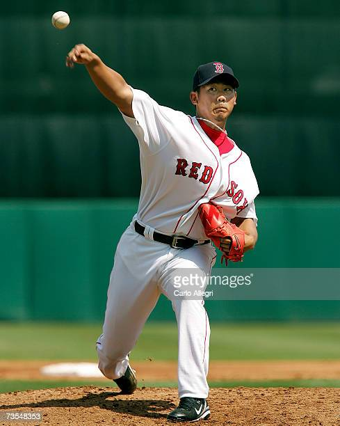 Japanese starting pitcher Daisuke Matsuzaka of the Boston Red Sox delivers a pitch during his game against the Baltimore Orioles during a Spring...