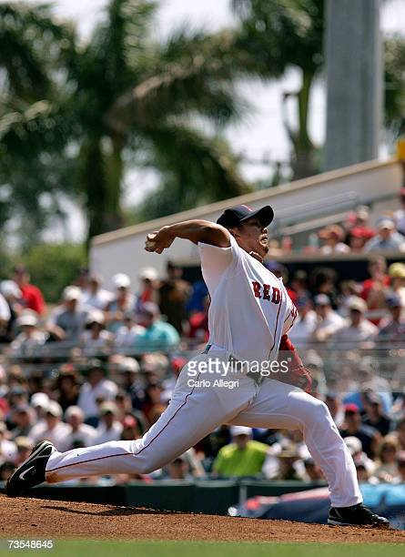 Japanese starting pitcher Daisuke Matsuzaka of the Boston Red Sox pitches during a Spring Tranining game against the Baltimore Orioles on March 11...