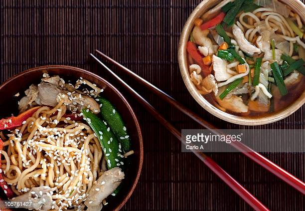 Japanese stir-fried noodles and ramen soup