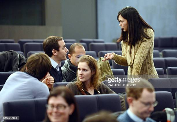SIMON Japanese student Megumi Koike attends a conference at the Ecole Nationale d'Administration on January 14 2013 in Strasbourg eastern France The...