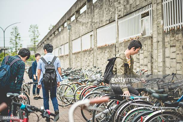 Japanese Students Using Bicycles for Commuting, Kyoto, Japan