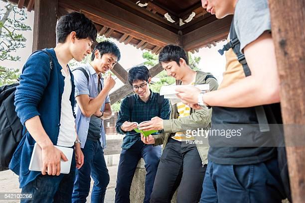 日本人学生認識していることを確認するには、検査、寺院、京都,日本