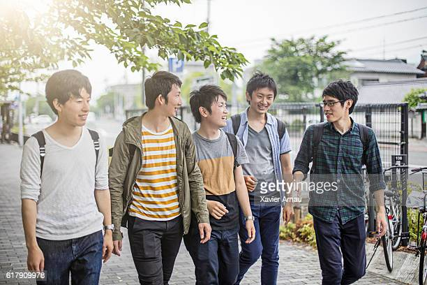 Japanese students walking on the street