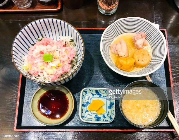 japanese style lunch meal - takuan stock photos and pictures