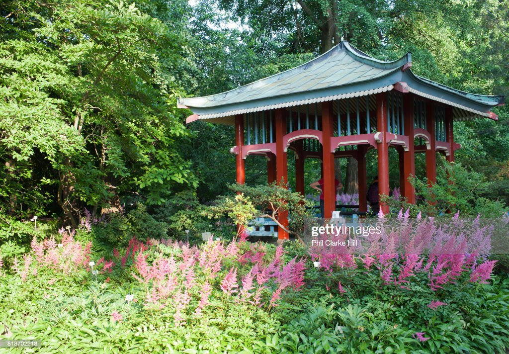 A Japanese Style Pagoda In The Botanical Gardens In West Berlin, Germany.