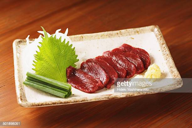 japanese style raw horse meat - shiso stock pictures, royalty-free photos & images
