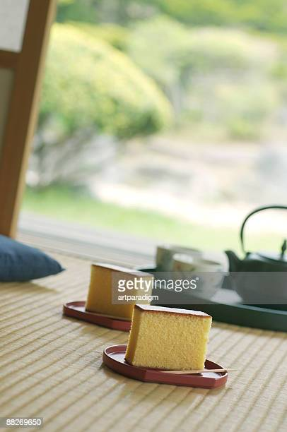 Japanese style sponge cakes in a tea room