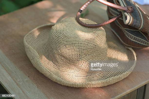 japanese style, the summer holidays - beige hat stock photos and pictures