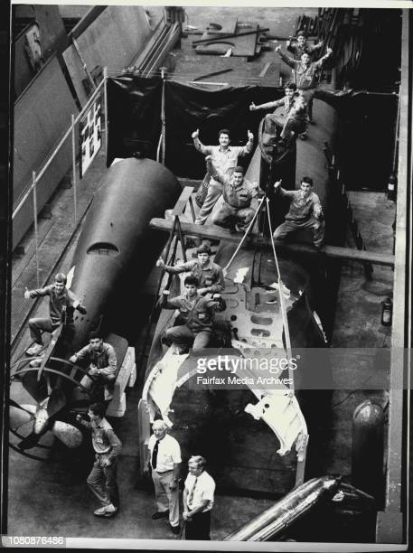 Japanese Sub that entered Sydney Harbour during Word War 2 restored by Apprentices at Cockatoo Island Dockyard February 11 1986