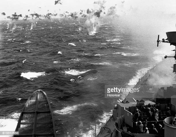 A Japanese suicide plane attacks the USS Missouri somewhere in the Pacific off Okinawa Japan ca April 1June 21 1945 | Location near Okinawa Japan