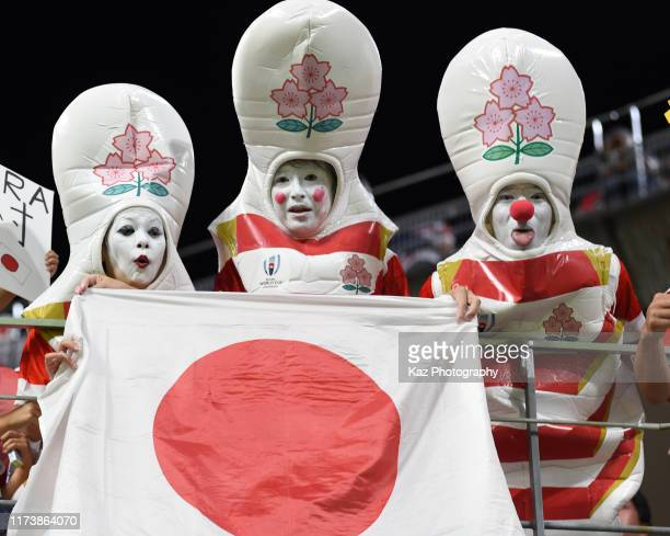 Japanese supporters during the Rugby World Cup 2019 Group A game between Japan and Samoa at City of Toyota Stadium on October 5, 2019 in Toyota,...